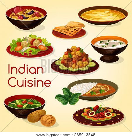 Indian Cuisine Dishes Of Rice With Lamb Curry, Chapati Bread And Meat Gravy. Chicken With Spinach, R
