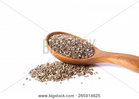 Close up  Chia seeds in wooden spoon , superfood and rich of nutrient an antioxidant poster