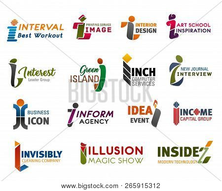 Corporate Identity Business Icons With Letter I. Vector Alphabet Symbol I Of Sport, Travel And Finan
