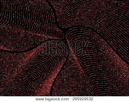 Ruby Red Curve Lines Of Multiple Rhombus Confetti On Black. Luxury Vector Background With Shiny Star