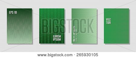 Vibrant Green Zig Zag Banner Templates, Wavy Lines Gradient Stripes Backgrounds For Music Cover. Cur