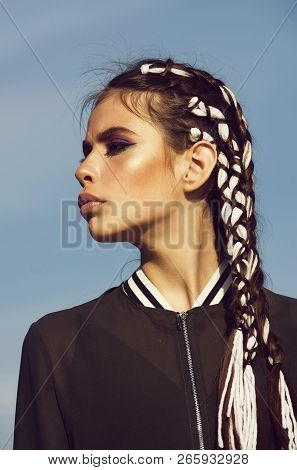 Hairstyle. Adorable Girl Or Pretty Woman, Fashionable Model With Cute Face, Makeup And Stylish Braid