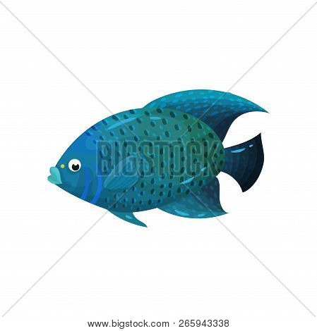 Predatory blue-colored fish with big fins, side view. Marine animal. Sea creature. Flat vector element for poster or book poster