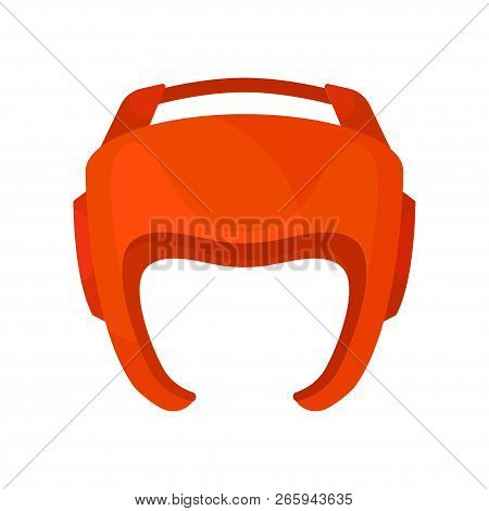 Red Helmet For Boxer. Boxing Protective Headgear. Sports Equipment. Sparring Gear For Martial Arts.