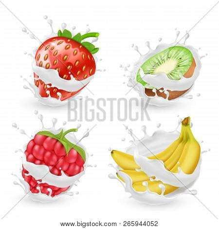 Set Of Juicy Summer Fruits And Berries In Milk Or Cream Splashes, Isolated On Background. Natural Or