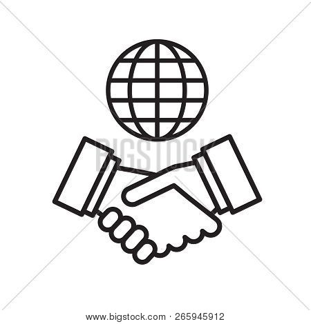 Vector Handshake And Globe Icon. International Partnership. International Business Concept.