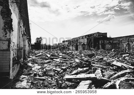Earthquake Or War Aftermath Or Hurricane Or Other Natural Disaster, Broken Ruined Buildings, Pills O