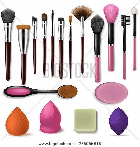 Makeup Brush Vector Professional Beauty Applicator Accessory And Fashion Brushed Tools For Powder Bl
