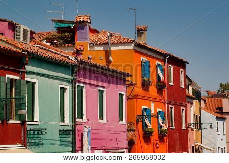 View Of Colorful Houses And Street In The Burano Venice Italy