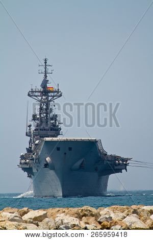 Malaga, Spain-may 28: Aircraft Carrier Principe De Asturias Taking Part In An Exhibition On The Day