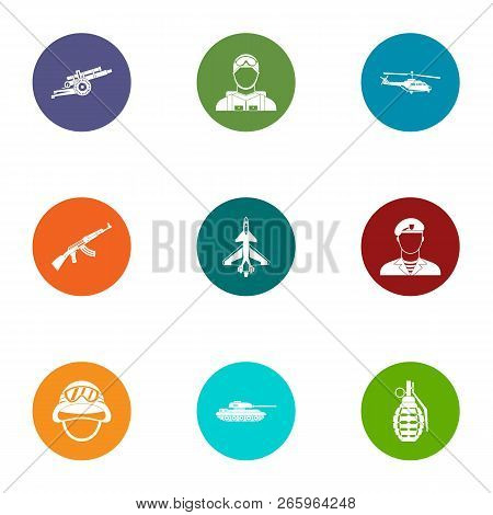 Armed Uprising Icons Set. Flat Set Of 9 Armed Uprising Icons For Web Isolated On White Background