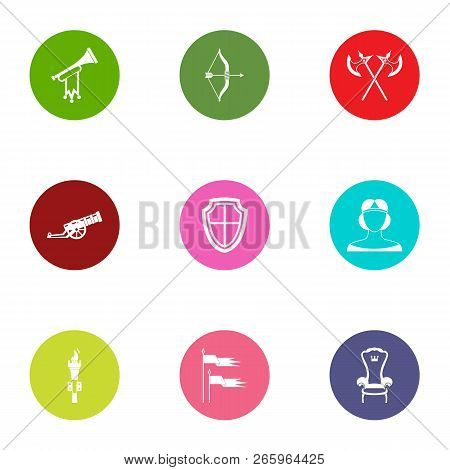 Medieval Period Icons Set. Flat Set Of 9 Medieval Period Icons For Web Isolated On White Background