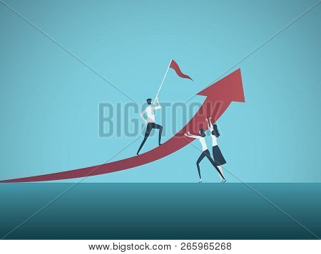 Business Man Male Manager Being Supported By Business Woman Vector Concept. Symbol Of Discrimination