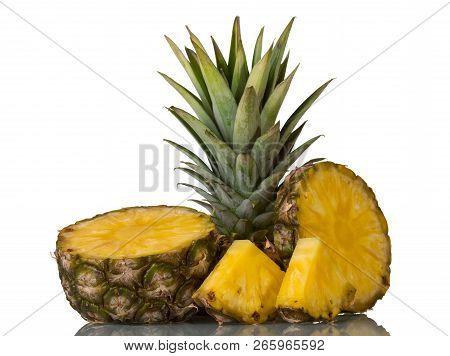 Fresh Juicy Pineapple Sliced Isolated On White Background
