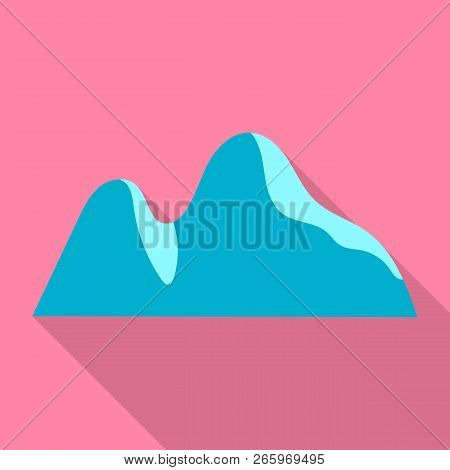 Mountain Hill Icon. Flat Illustration Of Mountain Hill Icon For Web Design