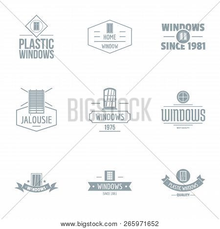 Contemporary Window Logo Set. Simple Set Of 9 Contemporary Window Logo For Web Isolated On White Bac