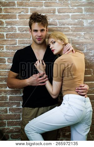 Fashion Couple In Trendy Clothes. Love, Tenderness, Relationship, Dating Concept. Sexy Couple Young