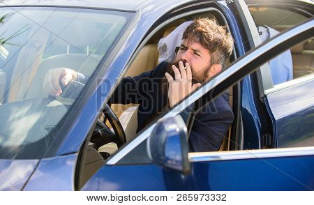 Smoking Bans In Private Vehicles. Man Bearded Businessman Smoking Cigarette While Sit In Car. Driver