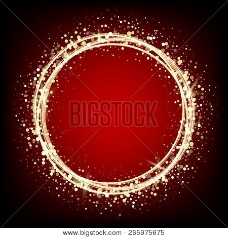 Christmas Red With Black Background With Circles. Gold Glitter.