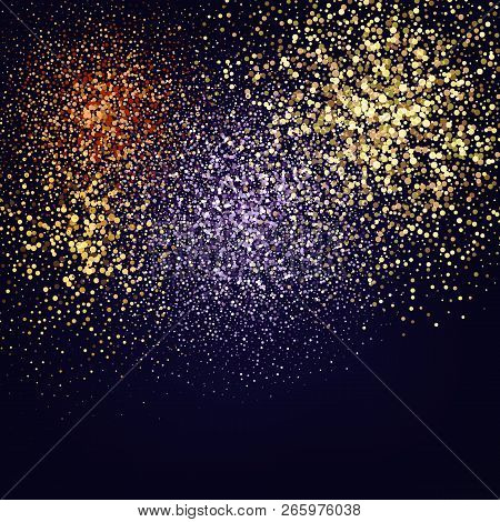 Color Glitter Texture Isolated On Black. Amber Particles Color. Celebratory Background. Golden Explo