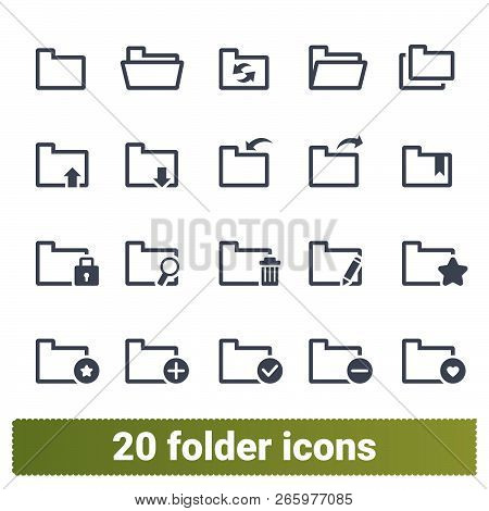Folder Vector Icons Collection. Various States Of Documents, Files And Folders. Office Symbols Set.