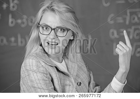 Teacher Wonder About Result. Solve Mathematics Task. Do You Know How Solve That Task. Woman Wear Eye