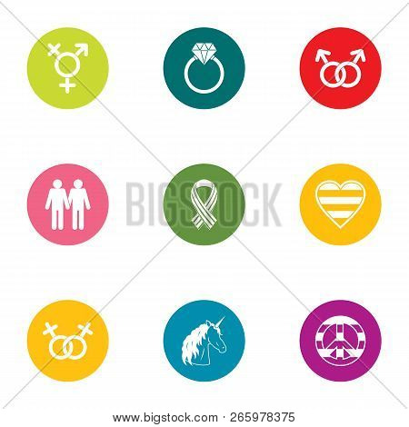 People Relation Icons Set. Flat Set Of 9 People Relation Icons For Web Isolated On White Background
