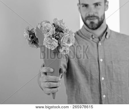 This Is For You Macho Gives Flowers As Romantic Gift. Boyfriend Confident Holds Bouquet Flowers. Guy