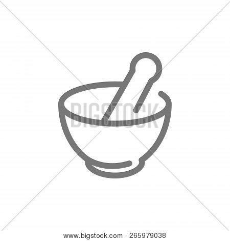 Simple Chemical Vessel, Mortar, Pestle, Pistil, Pounder Line Icon. Symbol And Sign Illustration Desi