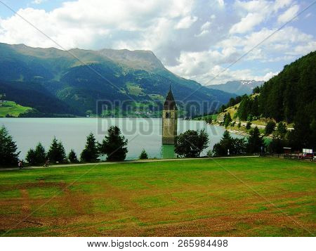 Lake Reschensee In South Tyrol Italy Tower Standing In The Water
