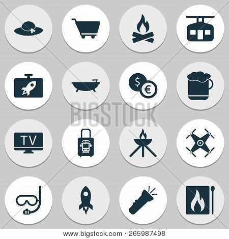 Tourism Icons Set With Rocket, Bathroom, Underwater Mask And Other Lab Elements. Isolated Vector Ill