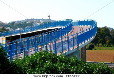 Curved Blue Bridge