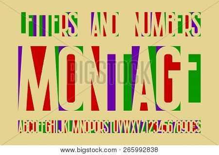 Montage Colorful Letters And Numbers With Currency Signs. Colored Cuttings Letters Font.