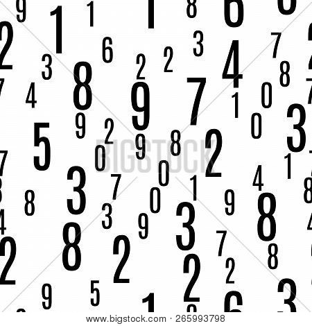 Numbers Shapes Seamless Pattern In Vector, Numeral Seamless Wallpaper Pattern, Black And White Seaml