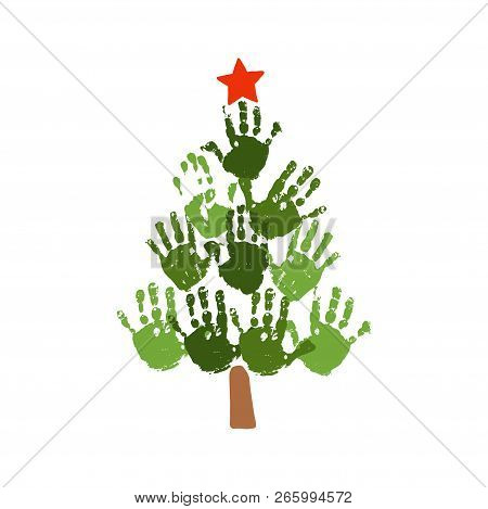 Christmas Tree Of Handprints With Red Star. Watercolor Acrylic Kids Christmas Art. Children Christma