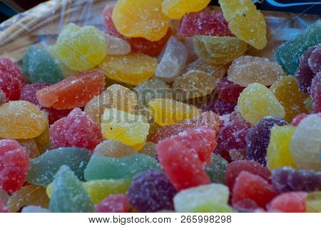 Gummies, Gummy Candies Or Jelly Sweets Are Jelly-based Chewable Sweets. The Multicolor Sugary Gummy