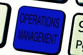 Text sign showing Operations Management. Conceptual photo ensure Inputs to Output the Production and Provision poster