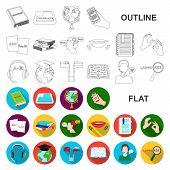 Translator and linguist flat icons in set collection for design. Interpreter vector symbol stock web illustration. poster