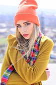 Fashion portrait of woman. woman maintaining fashion blog. Hipster woman with fashion makeup. Beauty and fashion look of vogue model. Hip hop girl with fashionable hair. Loving her new style. poster
