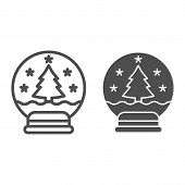 Snowglobe line and glyph icon. Xmas ball vector illustration isolated on white. Glass snowball outline style design, designed for web and app. Eps 10. poster