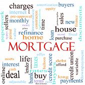 An illustration around the word mortgage with lots of different terms such as rates interest home refinance house charges loan purcahse taxes bank lender debt payments finance amortization and a lot more. poster