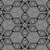 Black and white seamless background resembling three dimensional cubes - Escher style poster
