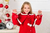 Kids can brighten up christmas tree by creating their own ornaments. Top christmas decorating ideas for kids room. Child red costume hold christmas ornament ball. Christmas ball traditional decor poster