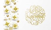 Feliz Navidad Merry Christmas Spanish golden greeting card, gold gifts, stars confetti and snowflakes glitter. Vector Spanish Navidad Christmas hand drawn calligraphy lettering text poster