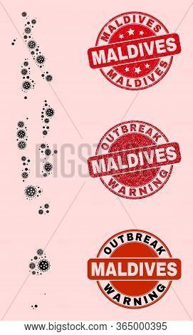 Outbreak Combination Of Flu Viral Mosaic Maldives Map And Rubber Seal Stamps. Vector Red Seals With