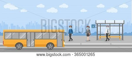 New Normal Life People Getting On The Bus Transport At Bus Stop Wearing A Surgical Protective Medica