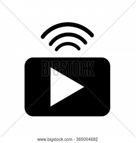 Streaming Icon On White Background. Flat Style. Broadcast Icon For Your Web Site Design, Logo, App,