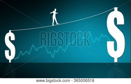 Businessman Walking On Tight Rope Between Dollar Signs, 3d Rendering