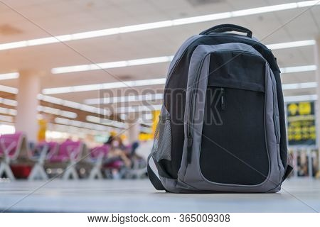 Backpack Traveler Reclaimed And Cancel Flights Stop And Prevent Covid-19 Virus Disease.travel Bag Su