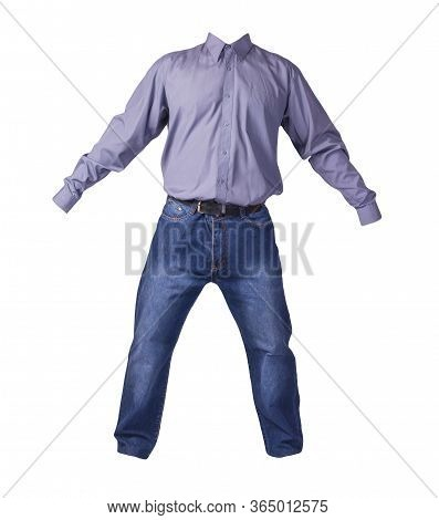 Men's Purple Shirt With Long Sleeves And Blue Jeans Isolated On White Background. Casual Wear